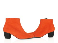 Bottine en velours orange fluo, paillettes noires