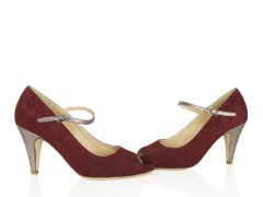 Escarpin en velours bordeaux, paillettes multicolores