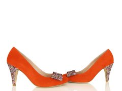 Escarpin en velours orange fluo et glitter multicolore