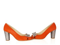 Escarpin en velours orange fluo, paillette multicolore