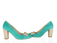Escarpin en velours turquoise clair, fines paillettes or blond