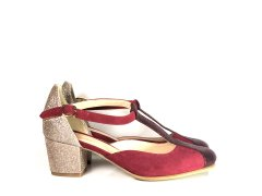 Salomé en velours rouge bordeaux et paillettes or, talon 6cm